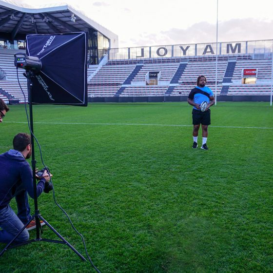 Photoshooting stade Zamst Mathieu Bastareaud